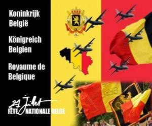 Puzzle de Fiesta Nacional de Bélgica se celebra el 21 de julio. En 1831 el primer rey belga juró fidelidad a la Constitución