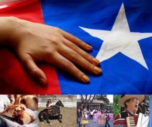 Puzzle de Fiestas Patrias en Chile. El Dieciocho se celebra los días 18 y 19 de septiembre en conmemoración de Chile como estado independiente