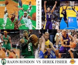 Puzzle de Final NBA 2009-10, Bases, Rajon Rondon (Celtics) vs Derek Fisher (Lakers)
