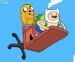 Puzzle de Finn y Jake volando