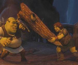 Puzzle de Fiona, la guerrera,  junto a Shrek