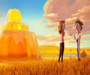Puzzle de Flint y Sam frente a un inmenso flan de gelatina