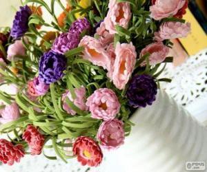 Puzzle de Florero con un gran ramo de flores
