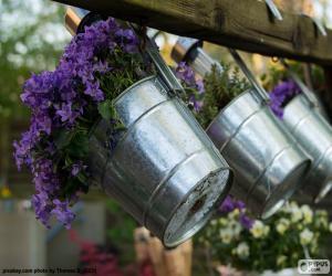Puzzle de Flores en macetas metálicas