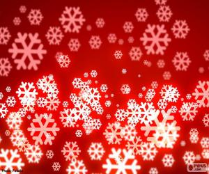 Puzzle de Fondo rojo copos de nieve
