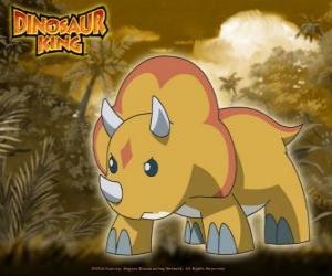 Puzzle de Gabu, Chomp, el dinosaurio más fuerte del Equipo-D, el triceratops de Dinosaur King