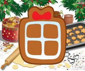 Puzzle de Galleta con la forma de un regalo de Navidad