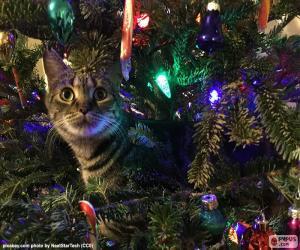 Puzzle de Gato y árbol de Navidad