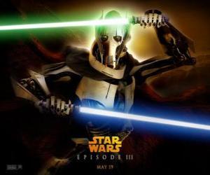 Puzzle de General Grievous es un temible y poderoso cyborg que ha consagrado su vida a la destrucción de la República y el exterminio de los caballeros Jedi.