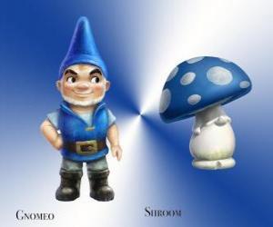 Puzzle de Gnomeo es un guapo y orgulloso gnomo del Jardín Azul, junto a su compañero leal y fiel la seta de yeso Shroom