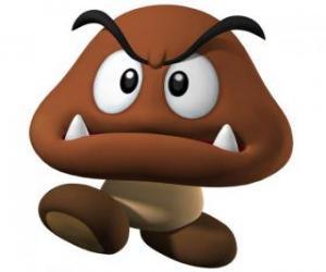 Puzzle de Goomba, enemigos de Mario, una especie de champiñón con pies