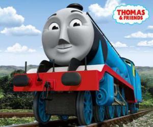 Puzzle de Gordon, la locomotora azul número 4, el tren expreso