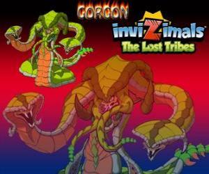 Puzzle de Gorgon. Invizimals Las Tribus Perdidas. Monstruo legendario, poderosa serpiente de tres cabezas