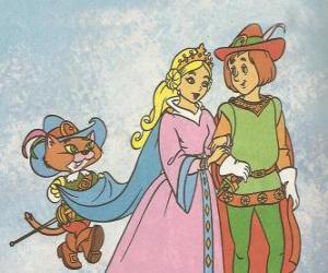 Puzzle de Gracias al ingenio del Gato con Botas el hijo menor del molinero se convierte en el Marqués de Carabás y se casa con la bella princesa