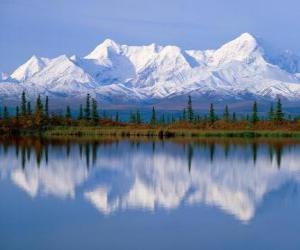 Puzzle de Gran lago con los abetos del bosque y las montañas como telón de fondo