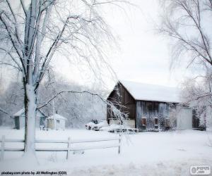 Puzzle de Granero en invierno