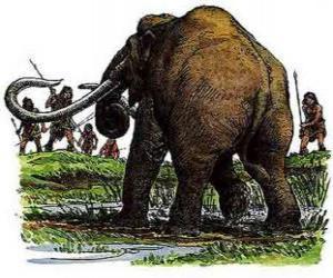 Puzzle de Grupo de hombres prehistóricos armados con lanzas en la cacería de un mamut