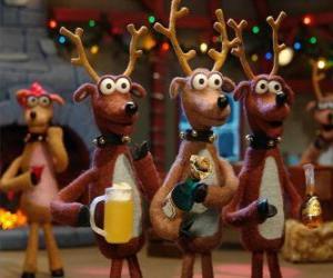 Puzzle de Grupo de renos navideños celebrando la navidad