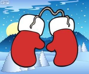 Puzzle de Guantes de Papá Noel. Manoplas de rojos y blancos