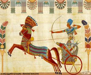Puzzle de Guerrero egipcio, el faraón o un noble con su caballo y su carro de guerra