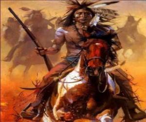 Puzzle de Guerrero indio cabalgando
