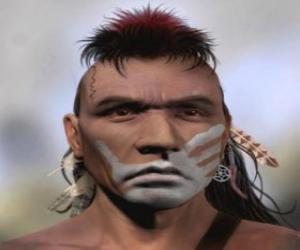 Puzzle de Guerrero indio con la cara pintada