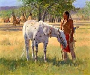 Puzzle de Guerrero indio junto a su caballo cerca del campamento