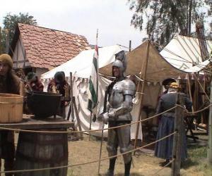 Puzzle de Guerrero protegido con armadura y casco y armado