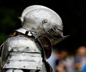 Puzzle de Guerrero protegido con armadura y casco
