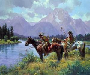 Puzzle de Guerreros indios a caballo