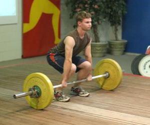 Puzzle de Halterofilia o levantamiento de pesas - Levantador en el inicio de su ejercicio