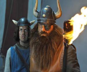Puzzle de Halvar, el padre de Vicky y el jefe de los vikingos del poblado de Flake con su parche en el ojo