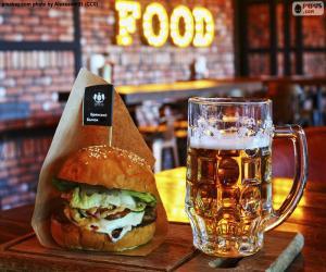 Puzzle de Hamburguesa y cerveza