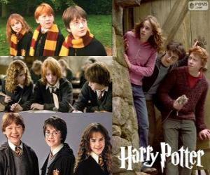 Puzzle de Harry Potter y sus amigos Ron y Hermione