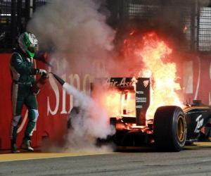 Puzzle de Heikki Kovalainen - Lotus - Singapur 2010