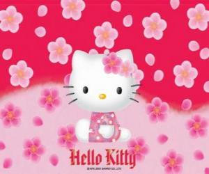 Puzzle de Hello Kitty con flores