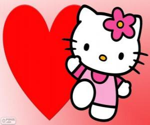 Puzzle de Hello Kitty con un gran corazón