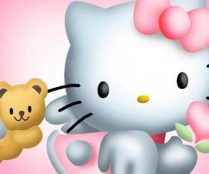 Puzzle de Hello Kitty junto a su osito de peluche Tiny Chum