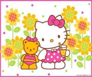 Puzzle de Hello Kitty tomando un refresco en el campo junto a su osito de peluche Tiny Chum