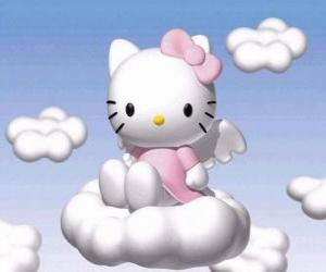 Puzzle de Hello Kitty volando encima de una nube