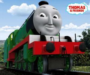Puzzle de Henry, la larga y rápida locomotora verde número 3