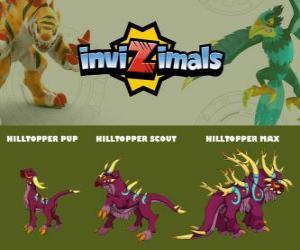 Puzzle de Hilltopper en sus tres fases Hilltopper Pup, Hilltopper Scout y Hilltopper Max, de Invizimals