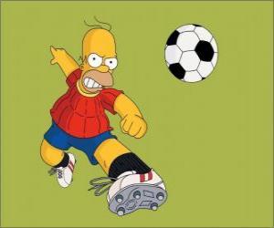 Puzzle de Homer Simpson jugando a futbol