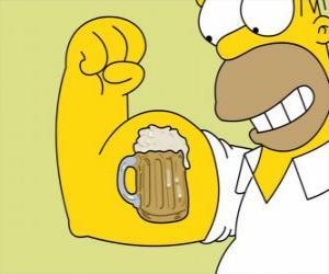 Puzzle de Homer Simpson orgulloso de su fuerza