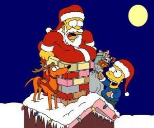 Puzzle de Homer y Bart Simpson ayudan a Papá Noel con los regalos
