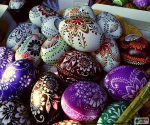 Puzzle de Huevos decorados con flores
