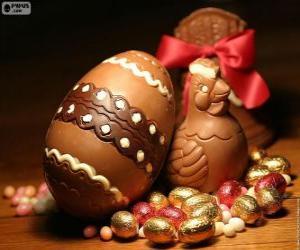 Puzzle de Huevos y gallina de Pascua