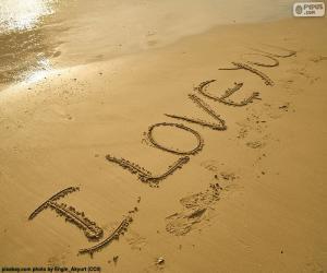 Puzzle de I LOVE YOU en la playa
