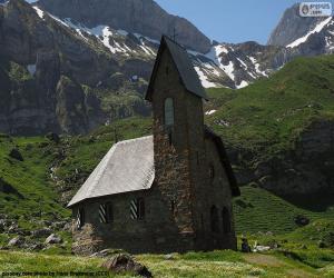 Puzzle de Iglesia de alta montaña, Suiza
