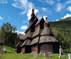 Puzzle de Iglesia de madera de Borgund, Noruega